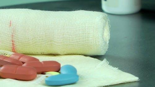 Pills on Gauze Bandage 1