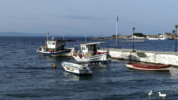Fishing boats in the harbor of Neo Marmaras