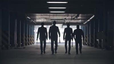Mafia Men Walking with Baseball Bats
