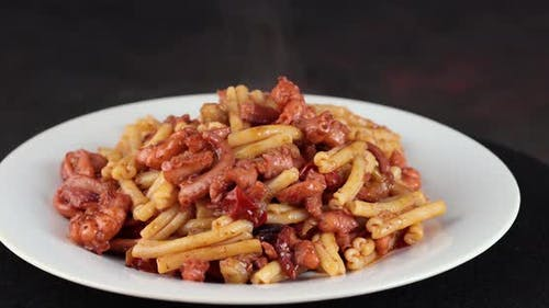 Pasta with octopus and aubergine