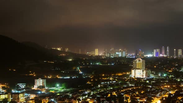 Thumbnail for Aerial Timelapse Of Penang In Malaysia At Night Lightning Storm