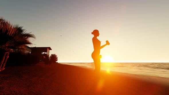Thumbnail for Woman Doing Fitness At Sunset