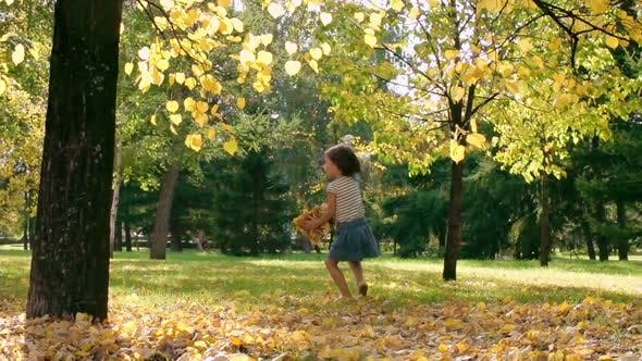 Thumbnail for Little Girl Throwing Autumn Leaves in Park