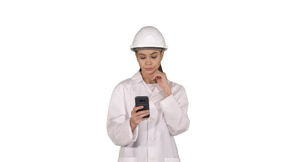 Thumbnail for Scientist Using Phone Texting Message on white background.