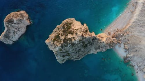 Greece landscape. Aerial seascape at the day time. Bay and rocks.