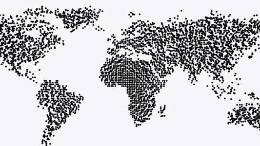Cover Image for World Map - Particle Formation - Black & White