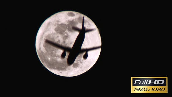 Thumbnail for Full Moon with a Plane Crossing