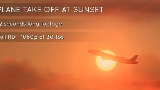 Thumbnail for Plane Takeoff at Sunset