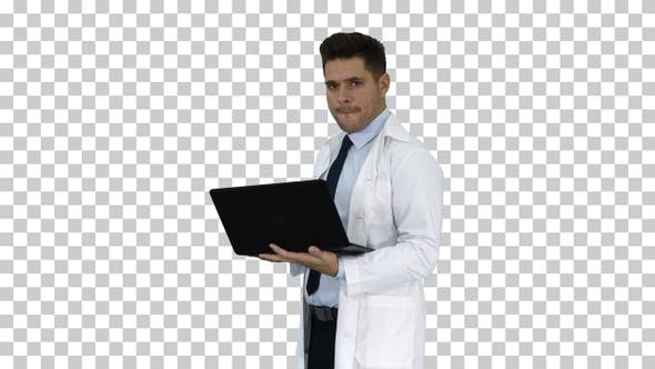 Thumbnail for Cheerfull Doctor with Laptop Laughing, Alpha Channel