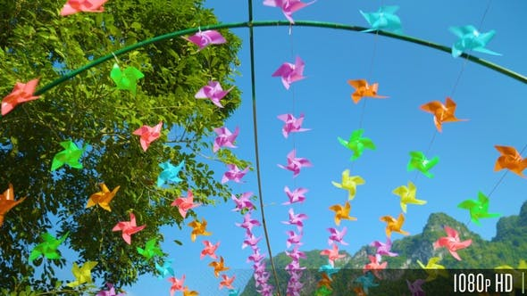 Thumbnail for Many Colorful Pinwheels Spin in the Wind