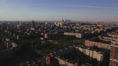 Aerial Moscow cityscape, Russia