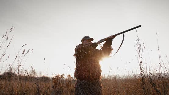 Thumbnail for Hunter in Hunting Equipment Aim the Target with Rifle in Field at Foggy Morning or Sunny Evening