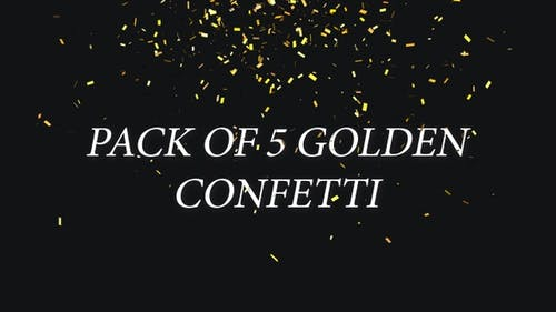 Set of 5 Golden Trendy Confetti, Gunshot Popper Explosions Falling