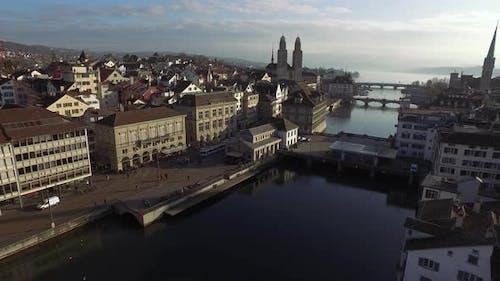 Aerial view of riverfront buildings in Zurich, Switzerland