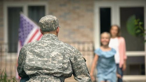 Cheerful Daughter Running to Hug Dad Soldier, Long Awaited Meeting, Homecome