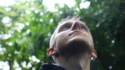 Motivational Uplifting Inspirational Portrait Of Man In The Rain