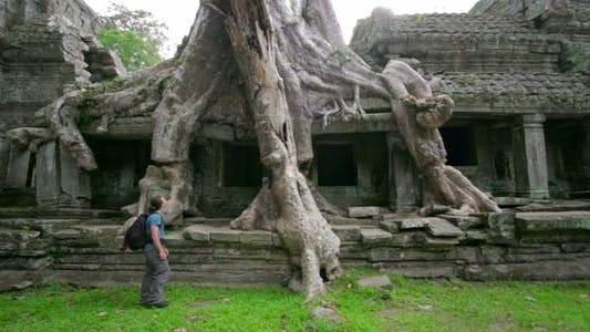 Thumbnail for Man Walking In Angkor Wat Temple 2