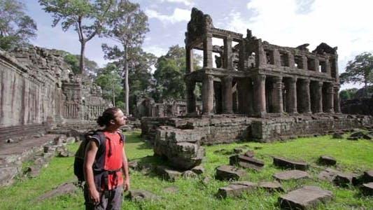 Thumbnail for Man Walking In Angkor Wat Temple