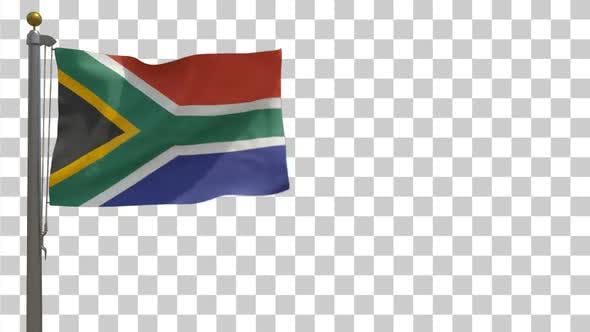 Thumbnail for South Africa Flag on Flagpole with Alpha Channel