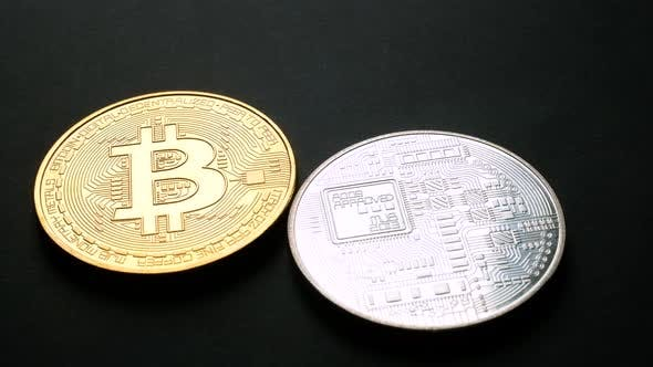 Thumbnail for Golden and Silver Bitcoin Coins on Black