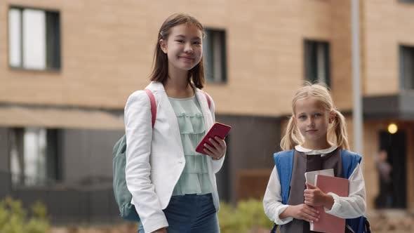Two Diverse Schoolgirls Portrait