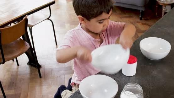 Children in kitchen