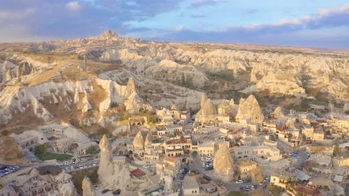 Goreme Town on sunrise view from drone in Cappadocia Region Of Turkey
