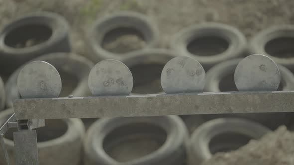 Iron Targets During the Shooting.