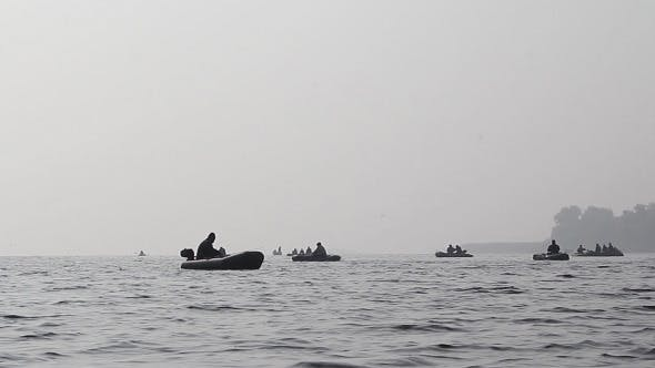 Thumbnail for Fishermen On a Boat In Fog Fishing