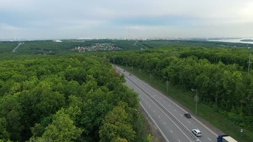 View of the Highway From a Quadrocopter. Side View. Samara, Russia