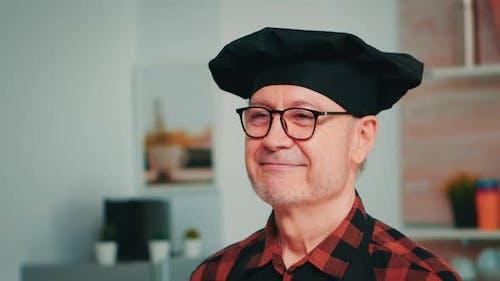 Elderly Age Man Wearing Chef Bonete