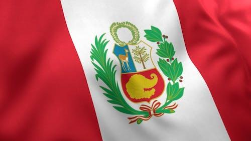 Peru Flag with Emblem
