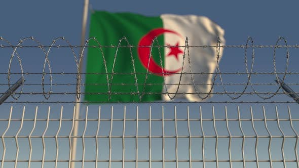 Thumbnail for National Flag of Algeria Behind Barbed Wire