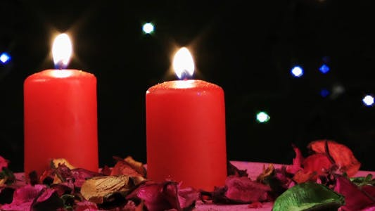 Thumbnail for Red Candles and Bokeh Colorful Lights