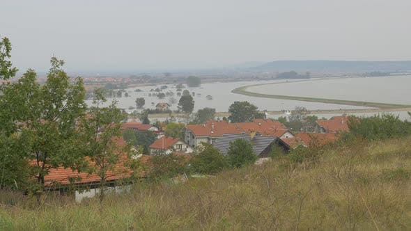 Thumbnail for Flooded by DAnube river Eastern Serbian village of Grabovica 4K 2160p UHD video - Floods in Eastern