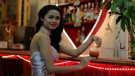 Thumbnail for Gorgeous Asian Woman Alone At Bar