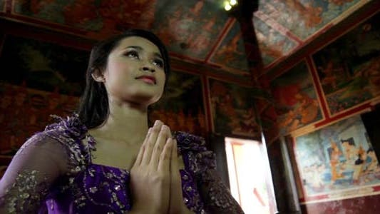 Thumbnail for Asian Girl Praying In Temple - Cambodia 9