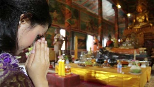 Thumbnail for Asian Girl Praying In Temple - Cambodia 8