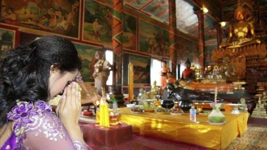Thumbnail for Asian Girl Praying In Temple - Cambodia 7