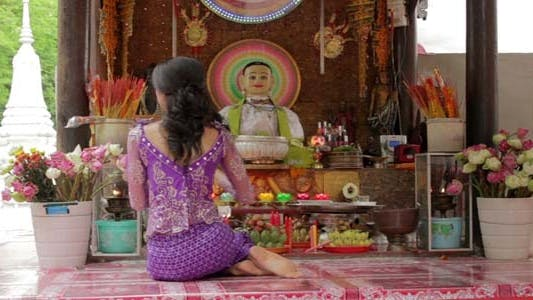 Thumbnail for Asian Girl Praying In Temple - Cambodia 5