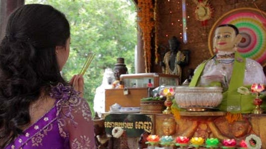 Thumbnail for Asian Girl Praying In Temple - Cambodia 3