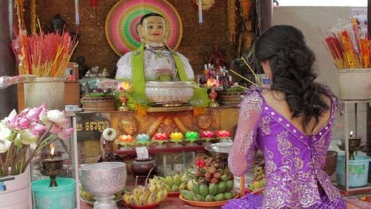 Thumbnail for Asian Girl Praying In Temple - Cambodia 1