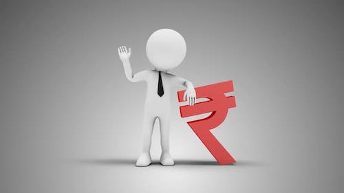 3D Man Waving Hand Leaned To Indian Rupee Sign 02 Loop with Alpha