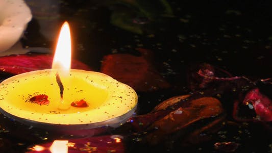 Thumbnail for Candles and Dry Leaves on the Water 4