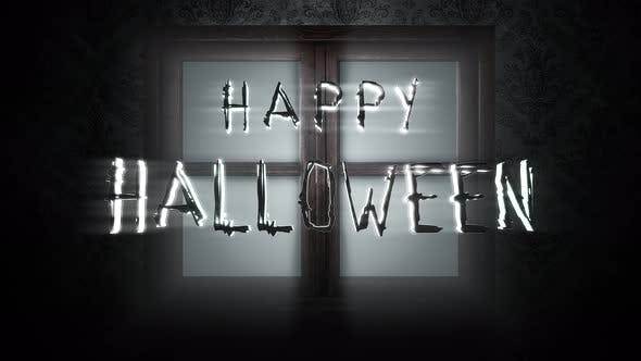 Animation text Happy Halloween and mystical horror background with closed window
