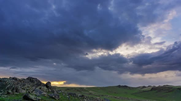 Thumbnail for Timelapse with Dramatic Sunset in Mongolia