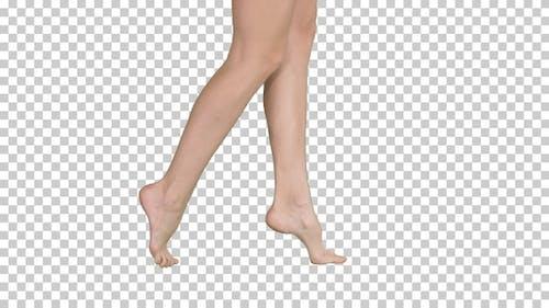 Beautiful female legs walking elegantly on tip toe, Alpha Channel