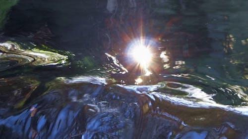 Waterfall and Sun Reflection