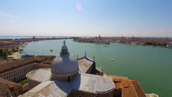 Thumbnail for Transportation on Grand Canal, Active Water Traffic, Venice Top View, Time Lapse