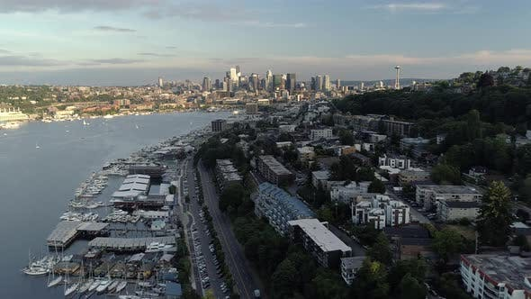 Thumbnail for Sunny Aerial Of Lake Union And Seattle City Skyline With Skyscraper Buildings